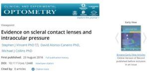 נקודת מבט של כתב עת אופטומטרי כי אצל מהפציינטים שהרכיבו עדשות מגע סקלרליות נצפו עלייה של לחץ תוך עיני בעקבות ההרכבה של העדשות המגע הסקלרליות.