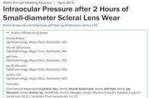 בשנת 2014 פורסם פוסטר בכינוס השנתי של ARVO שהסביר כי עדשות מגע סקלרליות בקוטר של 15 אינם מעלים את הלחץ התוך עיני.